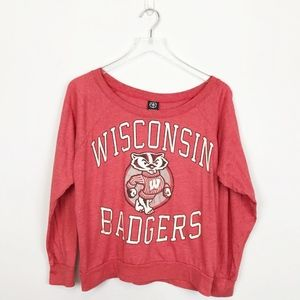 UO Wisconsin Badgers Crewneck Long Sleeve Red